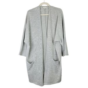 Donni Ribbed Gray Open Face Cardigan One Size Plus